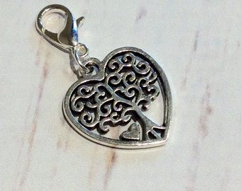 Heart purse charm, Beautiful Tibetan silver heart purse or zipper charm, Ladies purse charm, silver beads, tree heart charm, purse charm