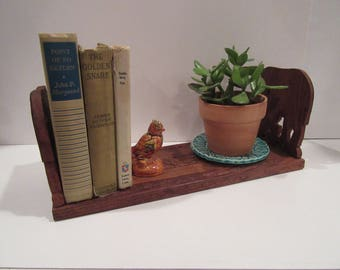 Vintage Hand Carved Wood Elephant Bookend Extendable Book Shelf India Made-Extended Elephant Bookend with Folding Ends-Mid Century Book Rack