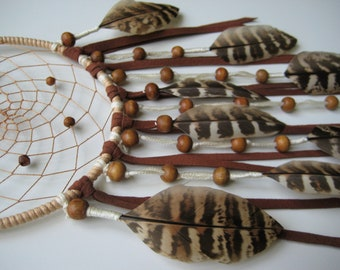 Natural Dream Catcher Handmade Wall Hanging, Children Dream Catcher, House Warming Gift idea Handmade, Ethnic Mobile with Naturals Feathers