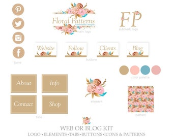 Web or Blog Kit,Primary Logo,Submark Logo,Buttons,Icons,Tabs,Elements,Patterns-Floral Pattern,Glitter-Pink,Blue,Gold-For Website or Blog