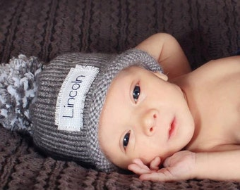 Baby hats personalized, boy hats, Baby hat, monogram winter hat, Baby Announcement, baby hats, Knit Baby Hat, Preemie hat, Preemie/24 Months