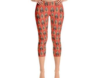 Bloodhound Capris - Capri Leggings - Capri Pants - Capri Yoga Pants - Exercise Leggings - Fun Leggings - Women's Leggings - Fun Capris -