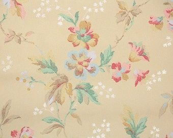 1930s Vintage Wallpaper by the Yard - Antique Floral with Multi Colored Flowers of Pastel Pink Yellow Blue and Green
