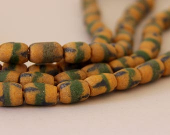 Vintage Dark Gold with Green and Blue African Sandcast Barrel Beads - OASC 104