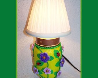 Handmade, Warm Glow Night Light Lamp, Polymer Clay Design, Lamp Shade, Tabletop Night Lamp, Decorative, Unique Gift