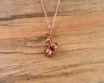 Electroformed Real Seed Buds Copper Necklace J21