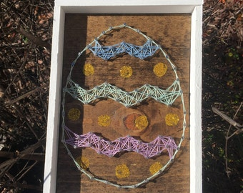 Spring Glittery Easter Egg String Art Wood Sign Home Decor