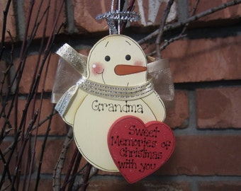 In Memory Personalized Ornament, Angel Snowman Ornament, In Memory of Personalized Ornament, Memorial Christmas, Snowman Personalized, Dad