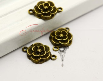 20PCS--21x18mm ,Flower Connector Charms, Antique Bronze Peony Flower charm pendants , DIY supplies,Jewelry Making