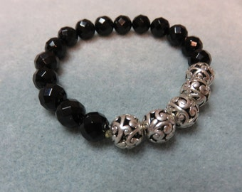 Faceted Onyx and Silver Filigree Beaded Bracelet
