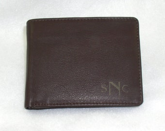 Christmas Gift for Men -Leather Wallet - Monogrammed - Black, Brown or Tan Bifold - Premium Leather