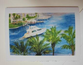 Balcony View, Sarasota, Florida 5 x 7 note card watercolor print