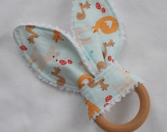 Aqua Good Natured Rabbit Ears Wooden Teething Ring