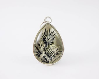 Pineapple Pendant, Vintage 1950 Costa Rica Postage Stamp Necklace, Neutral, Black & White, Everyday Jewelry, Nickel Free Silver, Grad Gift