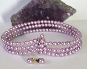 Vintage Lavender Pearly Beads Stud Earrings & Matching Triple Strand Coiled Wire Choker Necklace Pearly Beads Necklace