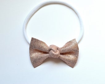 Rose Gold Knot Center MEDIUM Leather Bow Headband for Newborn Child Little Girl Adult Adorable Photo Prop White Pink Blush Baby Bow
