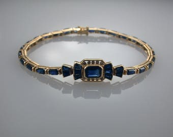 Blue Sapphire 14K Gold Bracelet, Natural Gemstone, Tennis Bracelet, September Birthstone
