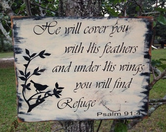 He will cover you Psalm 91:4 Bible verse / Scripture Wood Sign