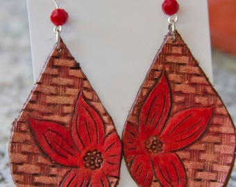 Red Flower Tooled Leather Earrings