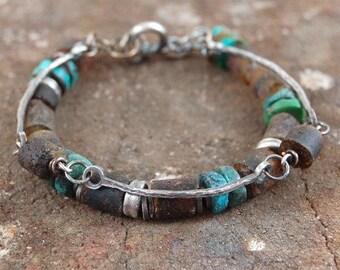 amber turquoise silver bracelet, unpolished raw amber, multi strand chain bracelet, handmade handcrafted chain bracelet