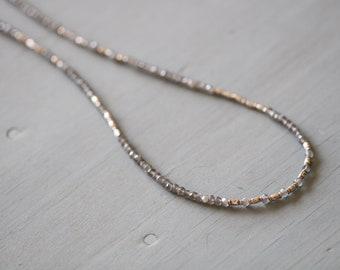 "GRAY MOONSTONE Necklace, Thai Silver Beads, Raw Diamond Accent, Genuine Diamond, Long Necklace, Beaded, Gemstones, 26"", Mossy Creek"