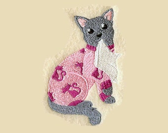 Russian Blue Cat Tea Towel | Embroidered Kitchen Towel | Kitchen Towel | Personalized Kitchen | Embroidered Towel | Cat Lover Gift