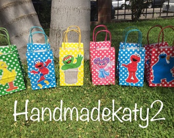 Sesame Street birthday Goodie  bags or Candy Bags set of 12pcs.