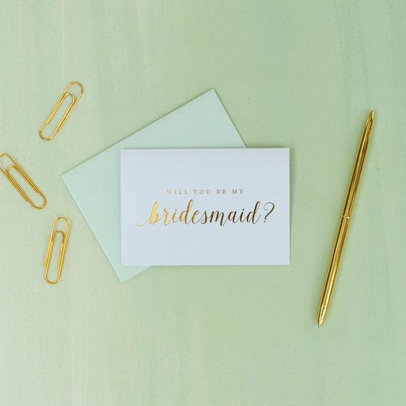 Gold Foil Will You Be My Bridesmaid card bridesmaid proposal bridal party gift bridesmaid gift wedding party card gold and mint wedding foil
