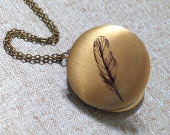 Black Feather Brass Art Locket Necklace, Round Bird Feather Locket