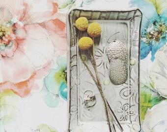 Jewelry holder glasses tray - ceramic trinket dish eyeglasses sunglasses tray - handmade pottery chocolate brown white neon flower texture