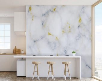 Digital Marble Effect Wall Mural With Gold Highlights Natural Wallpapers