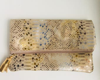 Glam Fold Over Clutch- Tri Gold