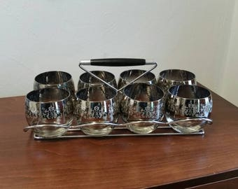 Silver Ombre Embossed Roly Poly Glasses with Caddy