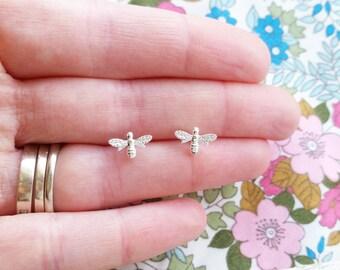 Sterling silver bee stud earrings, bumble bee earrings