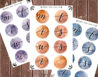 Watercolor Daily Planner Stickers Cursive Lettering