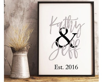Couples Names And Established Date- Digital Print- Wall Art- Digital Designs- Home Decor- Gallery Wall- Quote Prints