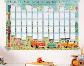 2018 - 2019 Wall Planner Calendar -  Split Year - Financial Year Wall Planner - Plan Adventures - Holiday Planner - Year Planner - Calendar
