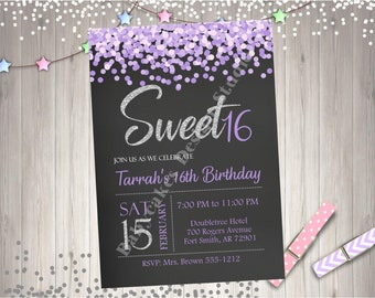Sweet 16 Birthday Party Invitation Invite Silver Purple Lavender Sweet Sixteen Party Printable Invitation