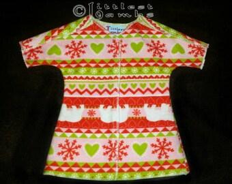 Micro Preemie Clothes, Preemie Christmas Pajamas, NICU Approved Gown, Preemie Girl clothing,  Pink Polar Bears, Flannel Pyjamas, X-mas PJ's