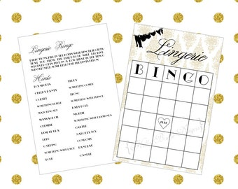 Black and Gold Printable Bridal Shower Game - Instant Digital Download