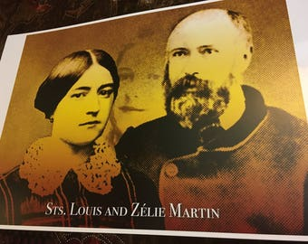 Sts Louis and Zelie Martin Beautiful 11x17 inches Poster. New and Unique Inspirational Image of Devotion