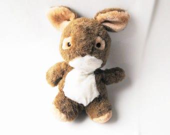 1984 Brown Bunny Rabbit Easter Basket Stuffer Toy - Vintage Joy Times Stuffed Animal Plush Woodland Party Decoration Baby Nursery Decor Gift