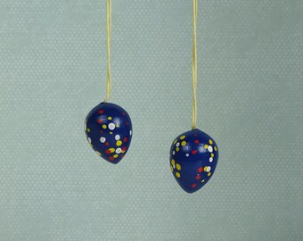 Vintage Easter egg ornaments blue dots 1980s wooden set of 2