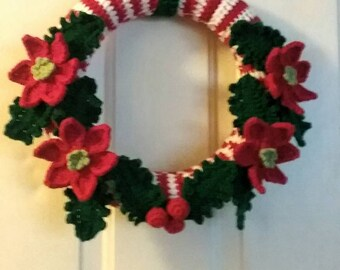 "Crochet Christmas Wreath, Crochet Poinsettin Flower for door decoration - 25 cm. (9.8"")"