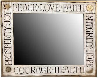 Peace Love Faith wall mirror