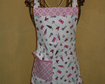 Apron great for any occasion, adorable pink hearts and goodies and cute trims..Just Charming