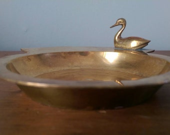 Vintage Brass Dish with Duck.  Trinket Tray.