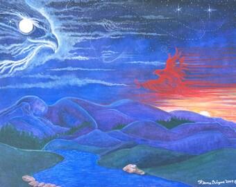 SALE,Spirit name painting,Native American,Red Hawk,shamanic journey,spirit animal,Flame Bilyue,print,Animal totem,medicine wheel,dream