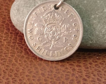 1949 King George VI British Two Shillings Coin Keyring, English Coin Keychain. British Coin Key Ring