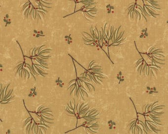 LAST ONES!!  1/2 Yard - Merry Medley - Branch Sprigs/Berries on Golden Tan by Sandy Gervais for Moda Fabrics